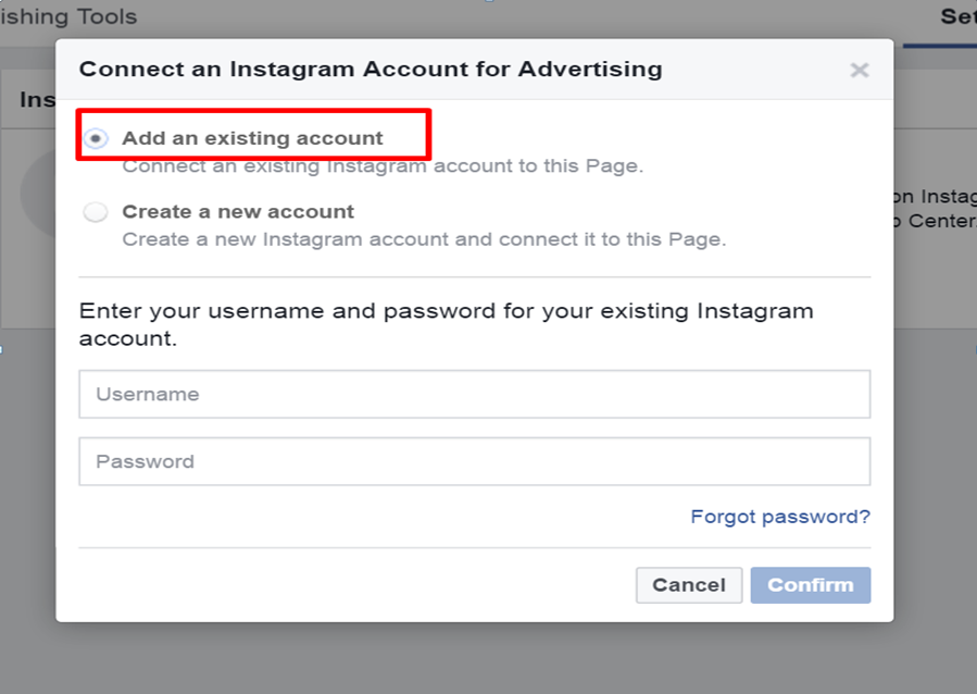 Screenshot - How to add Instagram account in facebook ad manager - step 1